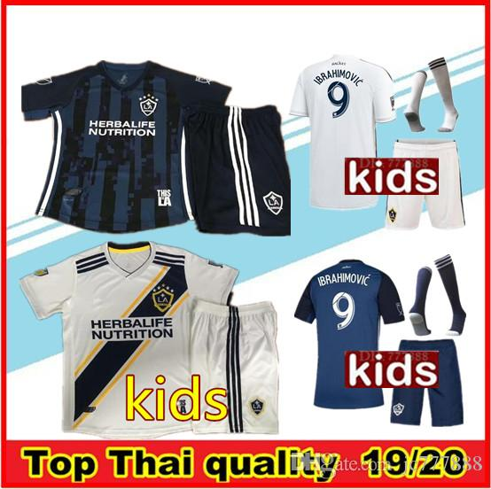 new product 4033e a5fd8 2019 LA Galaxy kids kit 2019/20 kids Soccer jersey Los Angeles Camisa  Ibrahimovic ALESSNDRINI J.DOS SANTOS child kit football shirt uniforms