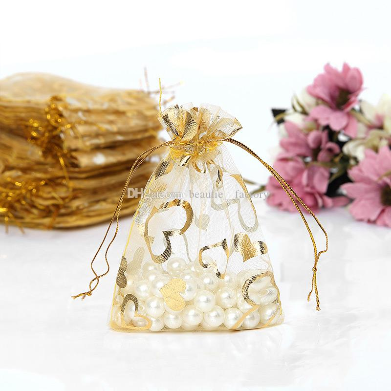 200Pcs Gold Heart Organza Drawstring Bags Wedding Favor Gift Bag 9X12 cm ( 3.5 x 4.7 inch) Multi Colors