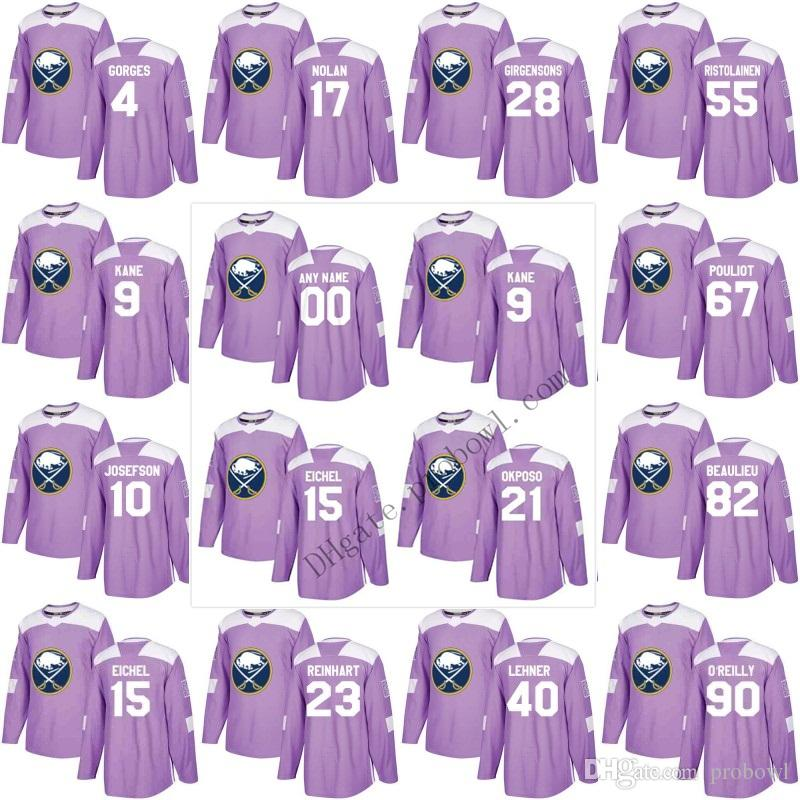 b58e4727a90 Buffalo Sabres Purple Fights Cancer Practice 9 15 Jack Eichel XS-6XL ...