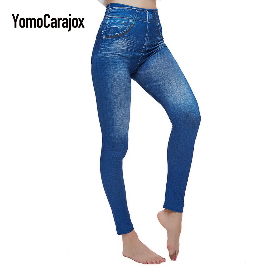 986f7439b9f 2019 Plus Size Sexy Push Up Fake Jeans Leggins For Women Denim Pencil Pants  Slim Fitness Jeggings Leggings With Two Real Pockets From Xiatian8