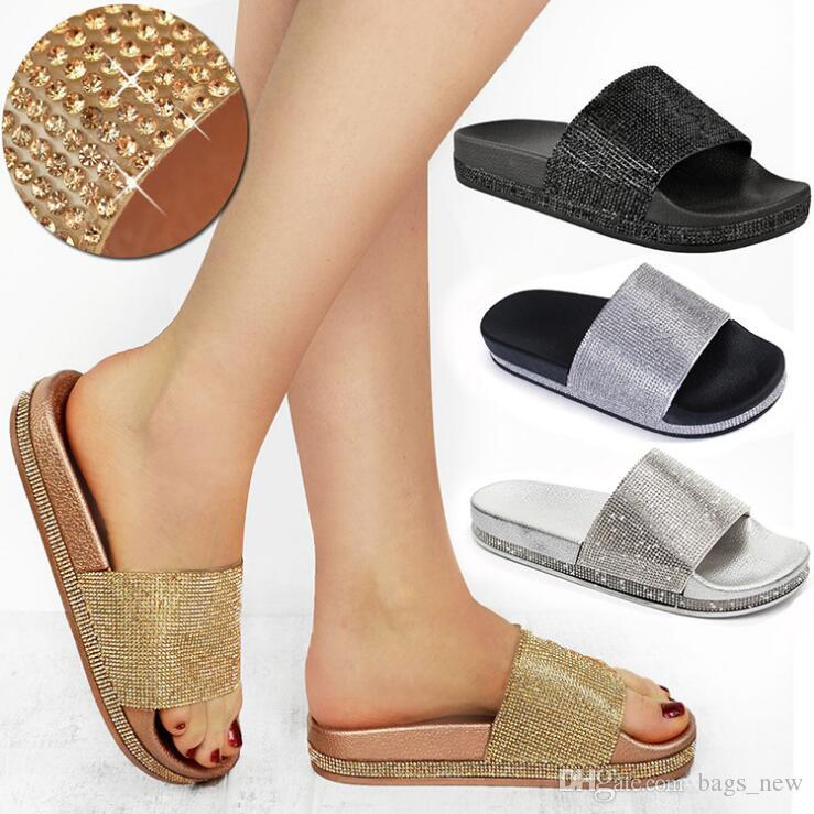 ad9fa9f59575 Summer Women Diamond Slippers PU Bling Rhinestone Slides Flat Indoor Flip  Flops Female Fashion Crystal Casual Beach Sandals Shoe Sale Suede Boots  From ...