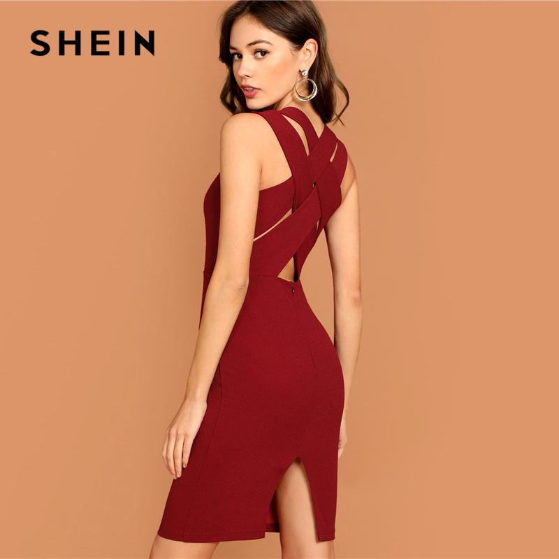 82066ad742 SHEIN Burgundy Plunging Neck Pencil Dress Solid Sleeveless V Neck Bodycon  Dress Elegant Party Autumn Modern Lady Women Dresses Party Dresses Lace  Lime Green ...