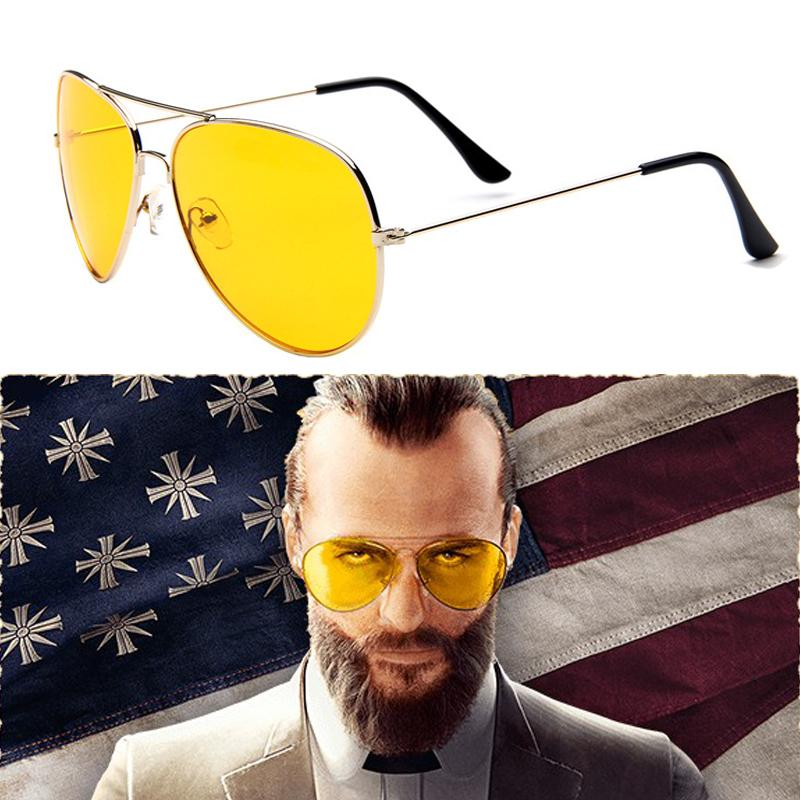 Game FAR CRY 5 Cosplay Prop Sunglasses Joseph Seed Eyewear Yellow Accessories Driver glasses Game FAR CRY 5 Cosplay Prop Sunglasses Joseph