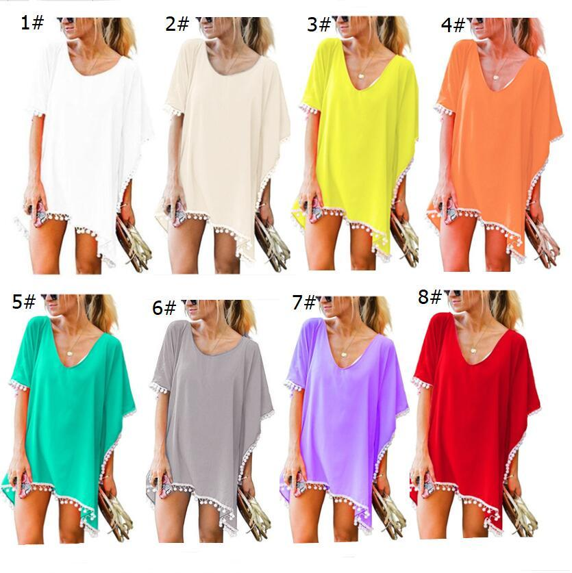 ce665d120ca3 2019 Fashion Chiffon Tassel Dresses Women Summer T Shirt Beach Dress Short  Sleeve Sexy Casual Mini Dress Shirt Blouse Women Apparel A22204 Awesome  Shirt ...