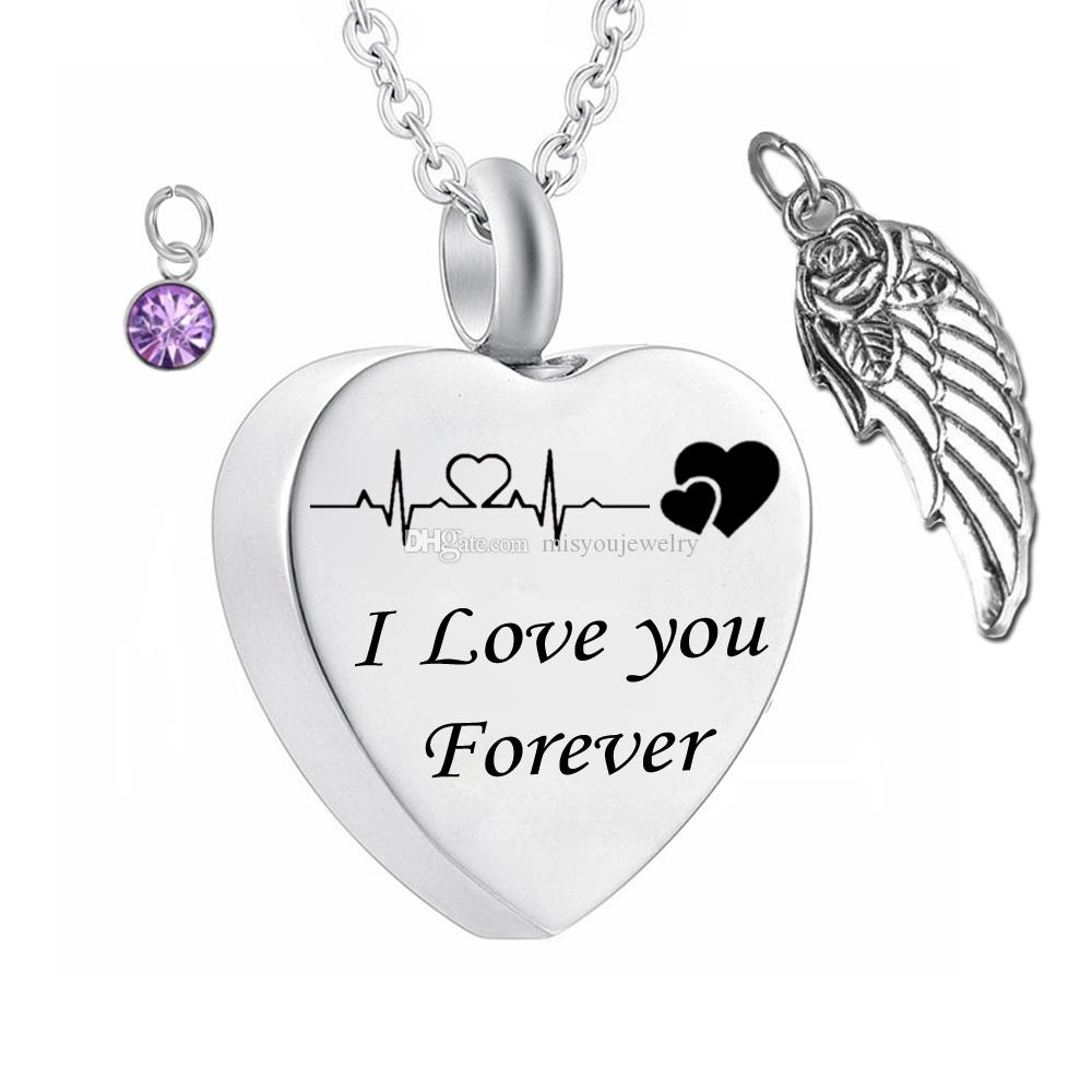 Fashion Pendant Electrocardiogram Cremation i love you Forever Birthstone crystal Memorial Urn Necklace wings Ashes Keepsake