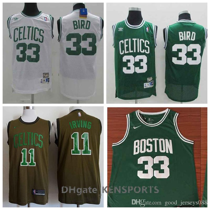 2019 Retro Men Boston Basketball Celtics Jersey 11 Kyrie Irving 33 Larry  Bird Stitching Jerseys Green White From Good jerseys088 7bc00902b