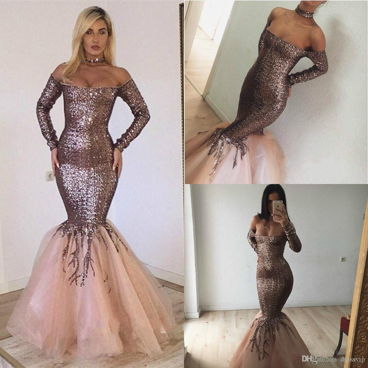 bfc663af2ee 2019 Rose Gold Evening Dresses Off The Shoulder Sequins Sweep Floor Length  Mermaid Prom Dress Custom Made Long Sleeve Special Occasion Gowns Purple  Evening ...