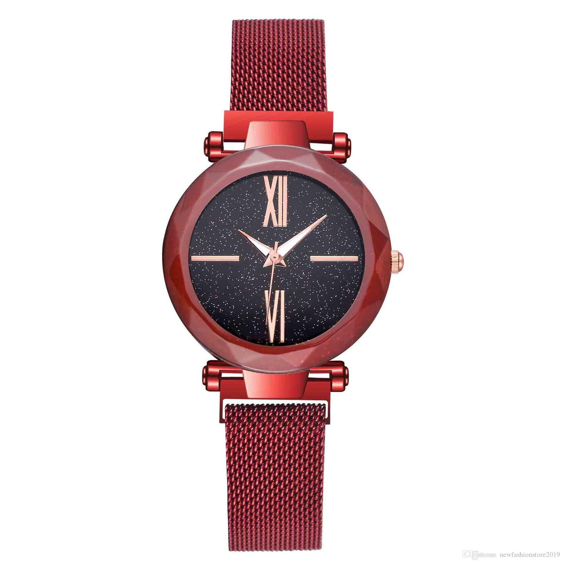 Hot wholesale Luxury Wristwatch Ladies watch with net and magnet buckle Roman numeral sky magnet student watch