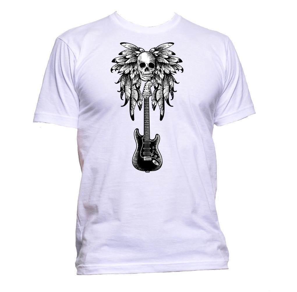 3ea6c99ae Compre Guitarra Y Calavera Con Pluma Camiseta Para Mujer Unisex Moda Slogan  Comedy Jersey Estampado Camiseta A  16.24 Del Happycup