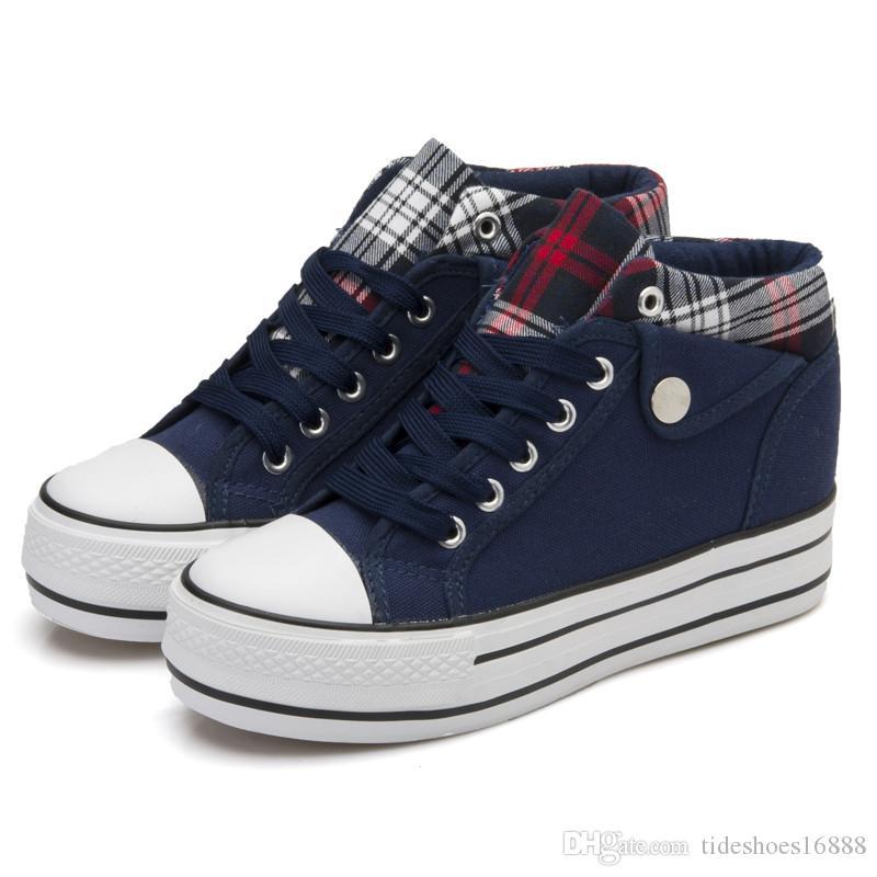 Acquista 6CM Heels Women Vulcanized Shoes Canvas Platform Scarpe  Traspiranti Donna Sneakers Con Zeppa Studenti Di Moda Casual Comode Scarpe  Da Ginnastica ... a8f4db0a388
