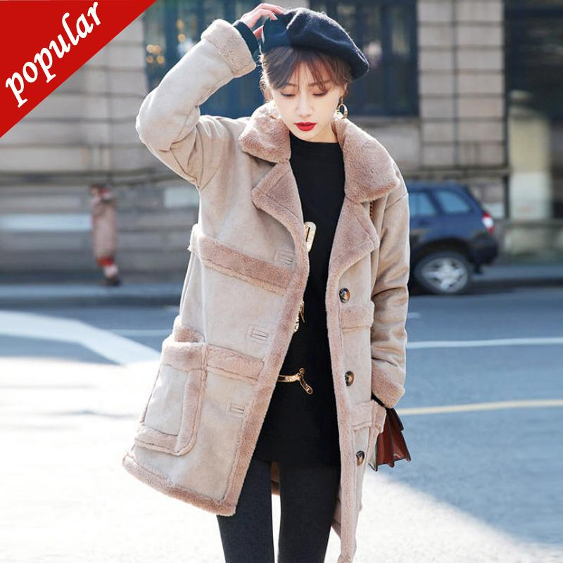 Winter Woman Patchwork Shearling Coats Faux Suede Leather Jackets Plus Size Loose Coat Long Faux Lambs Wool Coat S-xl