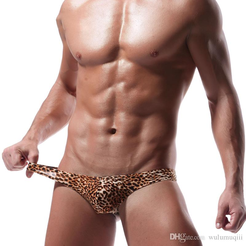 Men Thongs and G Strings Sexy Leopard Print Men Underwear Penis Pouch Panties Men's Bikini Briefs