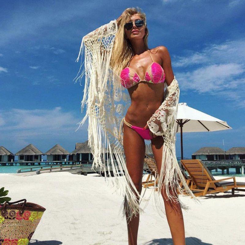 2019 Womens Bandage Bikini Cover Up Tassel Monokini Bikini Lace oco Out Cardigan Branco Cover Up Ladies Verão solto Casual
