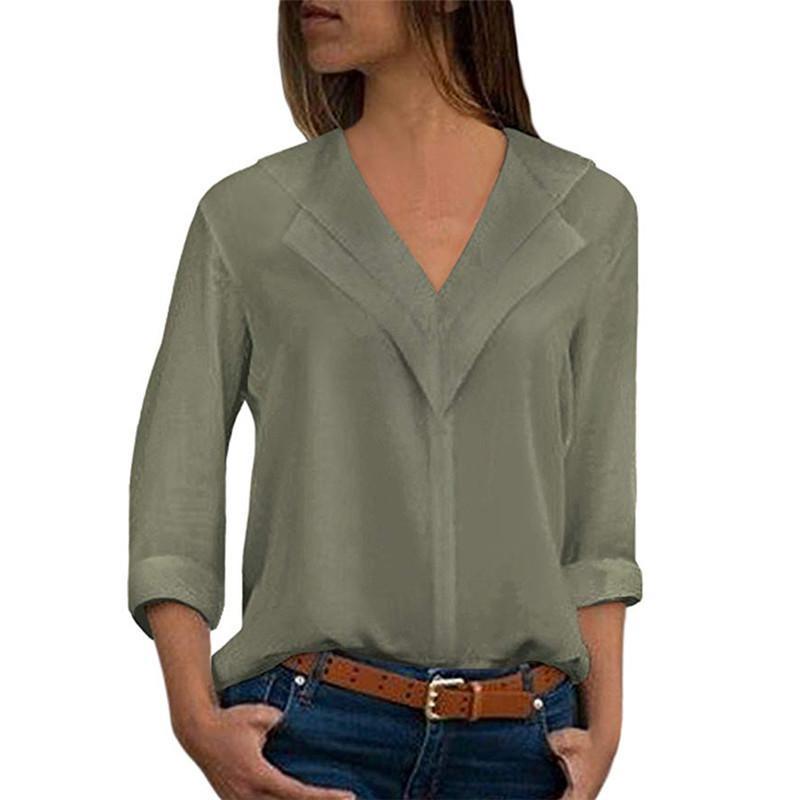 Compre Mulheres Chiffon Senhora Do Escritório 5XL Plus Size Outono Blusa  Camisas De Carreira Femme Blusa Ruffle Tops Sólida Elegante Decote Em V  Primavera ... c1eb082cefc