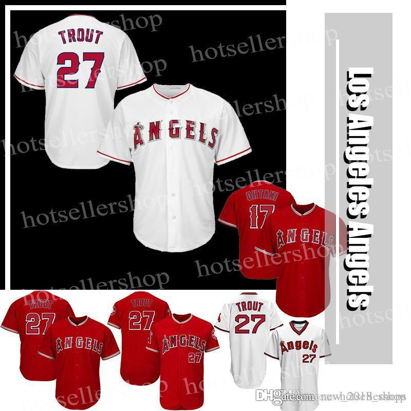 cc1c6ddbf08 2019 Los Angeles Baseball Jersey 27 Mike Trout 17 Shohei Ohtani Cheap  Wholesale Stitched Embroidery Logos From New 2018 shops