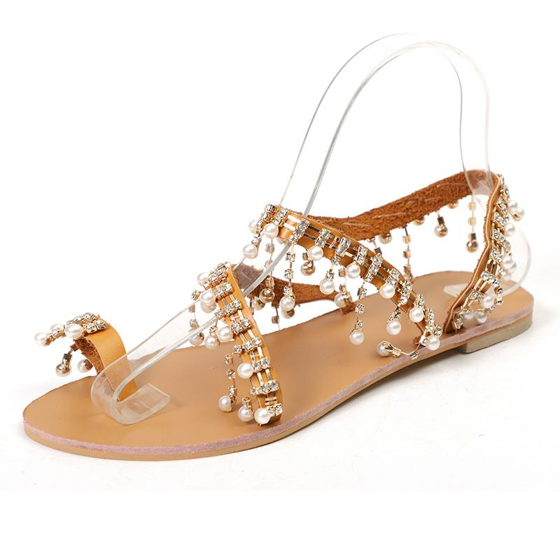 c652342ac Women Sandals Fashion Women Shoes Pearl Flat Sandals Shoes Woman Sandalie  Comfort Casual Ladies Beach Plus Size 43 Wedge Sandals Jesus Sandals From  Delina, ...