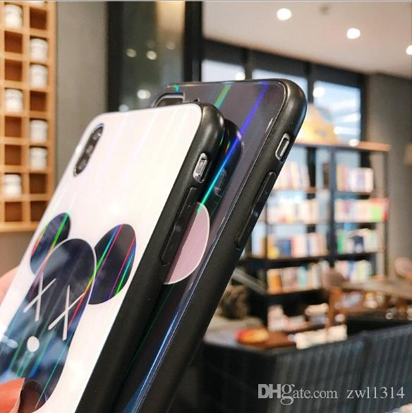 Новый мультфильм чехол для телефона из закаленного стекла на заднем листе для Iphone Xs Max TPU Мягкая рамка Чехол для мобильного телефона для Iphone 6 6s 7 8 Plus DHL