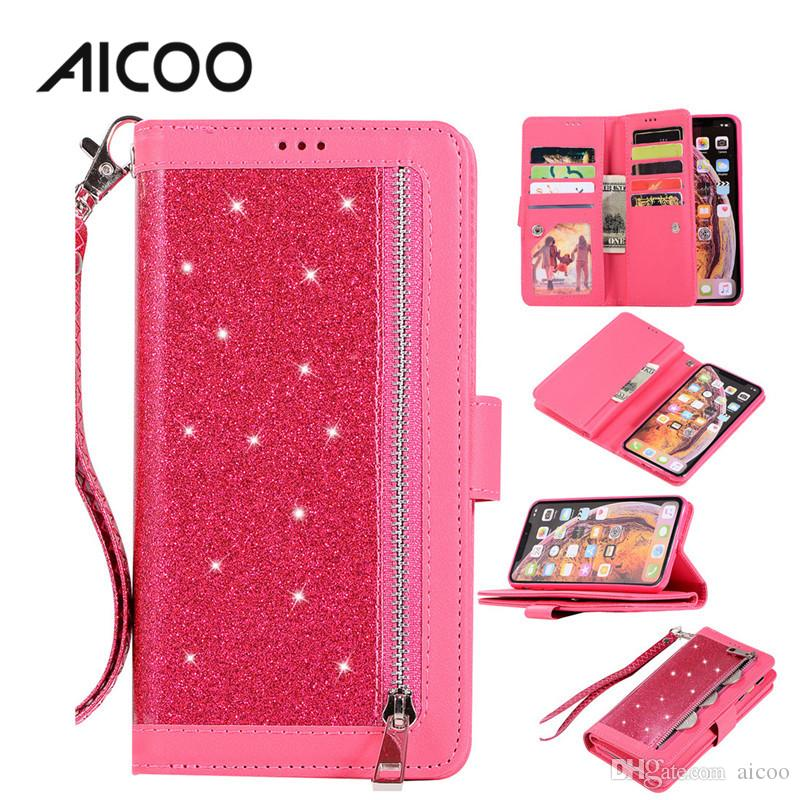 AICOO Bling Zippered Wallet Case TPU PU Shockproof Glitter with Card Slot Holder Phone Case for iPhone XS XR Samsung Note9 Huawei P20 OPP