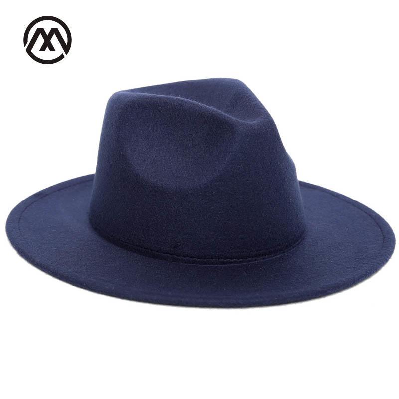 73be6dc1faa 2018 Autumn Winter Womens Felt Hat Fedoras Big Brim Hats For Women British  Style Vintage Church Hats Lady Flat Brim Fedoras D19011103 Trucker Hats  Boonie ...