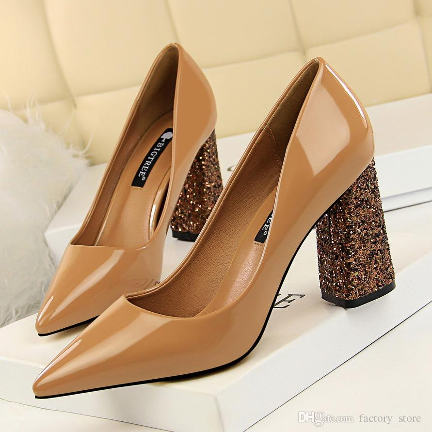 0d9532839c sexy shoes patent leather thick heels women pumps nude heels office shoes  women italian shoes women designers brand heels zapatos de mujer