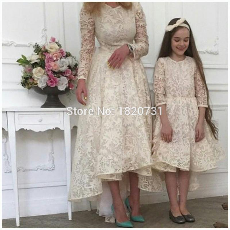 Elegant Jade Green Lace Evening Dresses Long Sleeves High Low Mother and Daughter Matching Party Gown O neck Long Prom Dress