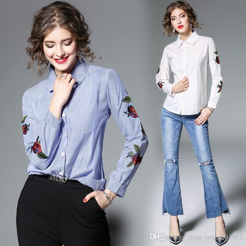 e032617d Großhandel Rose Floral Stickerei Gestreifte Bluse Frauen Langarm Hemd  Lässige Baumwolle Blusa Plus Size Kimono Tops Büro Dame Blusas 2019 Von ...