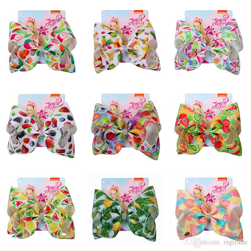 INS jojo siwa 104Colors Baby Girls Bow Mermaid clover Flamingo print Hair Accessories Barrettes Kids 8 inch Headdress hair bows with Clips