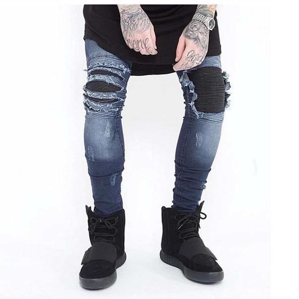 e0de379609f4 Skinny Jeans Men Ripped White Black Slim Stretch Hole Distressed ...
