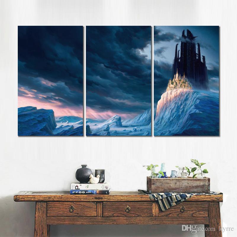 Cena do jogo da arte 3 painéis de lona impressa pintura pictures para sala de estar decoração da parede