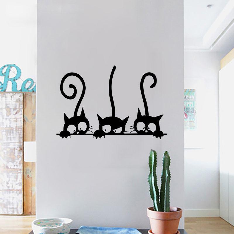 3 Black Cute Cats Wall Sticker Lovely Cat Stickers Girls Vinyl Home Decor Living Room Children Decoration Cheap Tree Decals