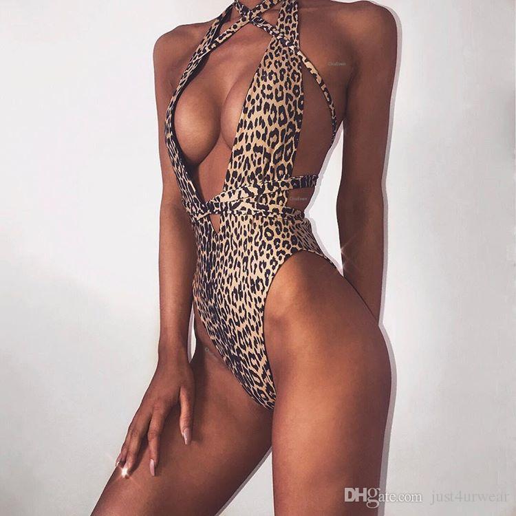 2a08b3c43e62 Acquista Bikini Leopardati Da Donna Sexy Costumi Da Bagno Halter Top Costumi  Da Bagno Completi Da Spiaggia Brasiliana Abbigliamento Tute Da Donna Summer  ...