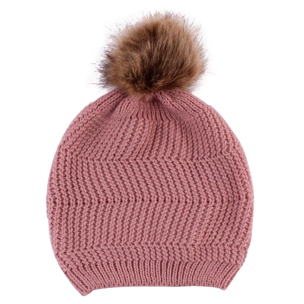 bf91e2d52a52b Ladies Warm Soft Knit Wool Beanie Cap Women S Pompom Ball Winter Hats Solid  Color Straw Hat Baseball Cap From Juaner