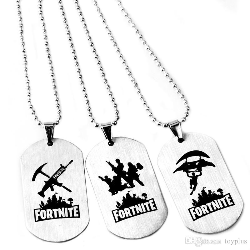 2019 Fortnite Logo Printing Necklace Keychain Stainless Steel Battle