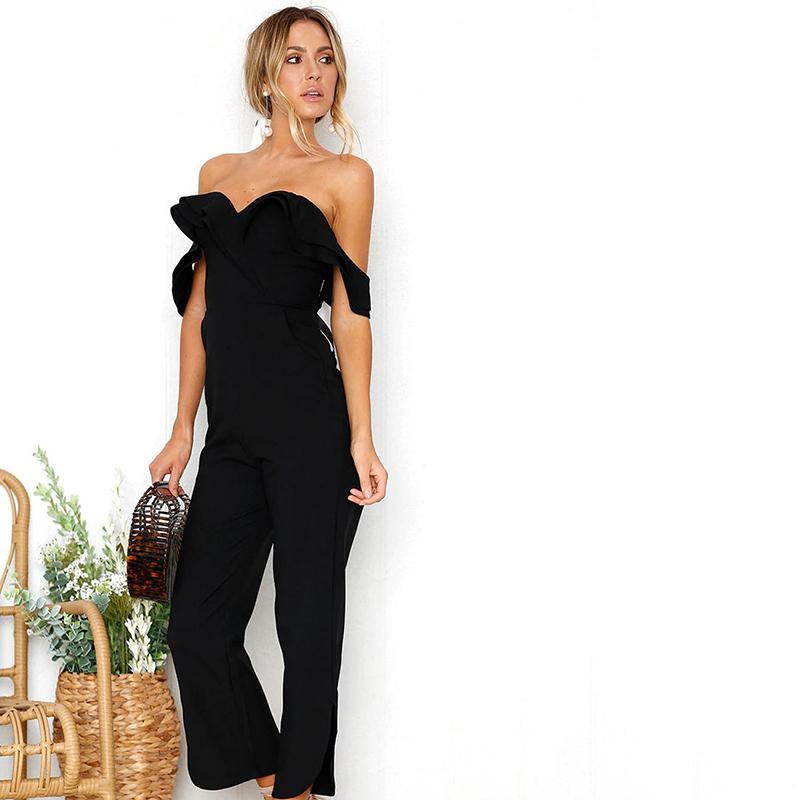 96390ae6951 2019 2019 Fashion Women Summer Off Shoulder Backless Bodycon Jumpsuits Slim  Solid Color Party Club Chic Boot Cut Jumpsuit Trousers From Movearound
