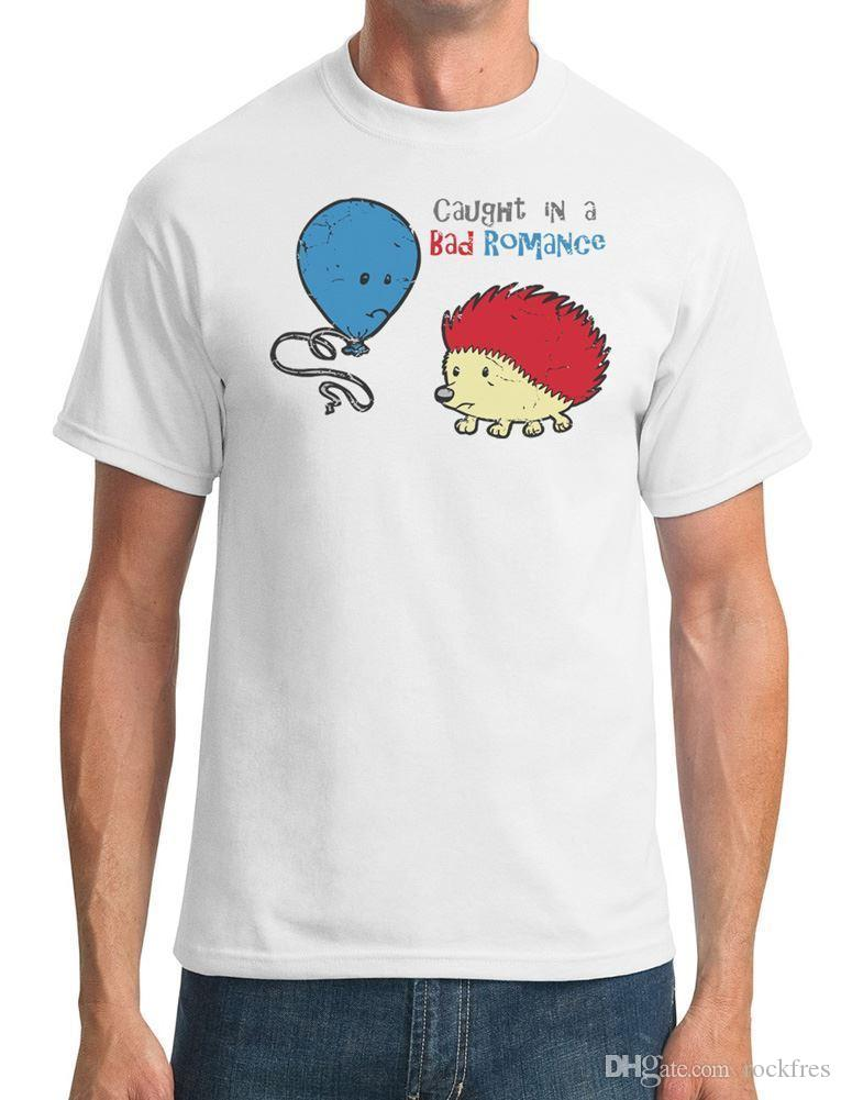 4bd6ccf5e Caught In A Bad Romance Hedgehog And Balloon Funny Mens T Shirt Cartoon T  Shirts Urban T Shirts From Rockfres, $10.19| DHgate.Com