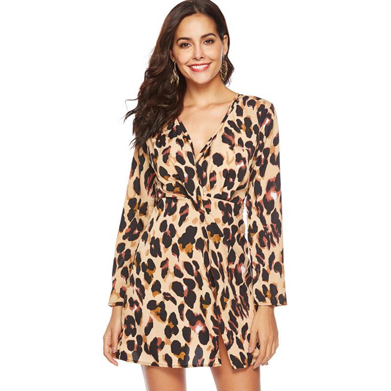 Women Summer Leopard Snake Print Dress Long Sleeve Chiffon Dress ...