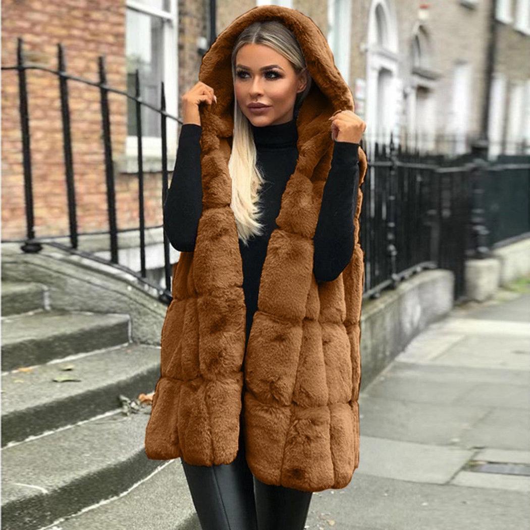 cb4f6b388f1 2019 Women Fluffy Loose Waistcoat Sleeveless Coats Outwear Faux Fur Coat  Vest Winter Autumn Warm Hooded Vest Jackets Female Fur Gilet From Missher
