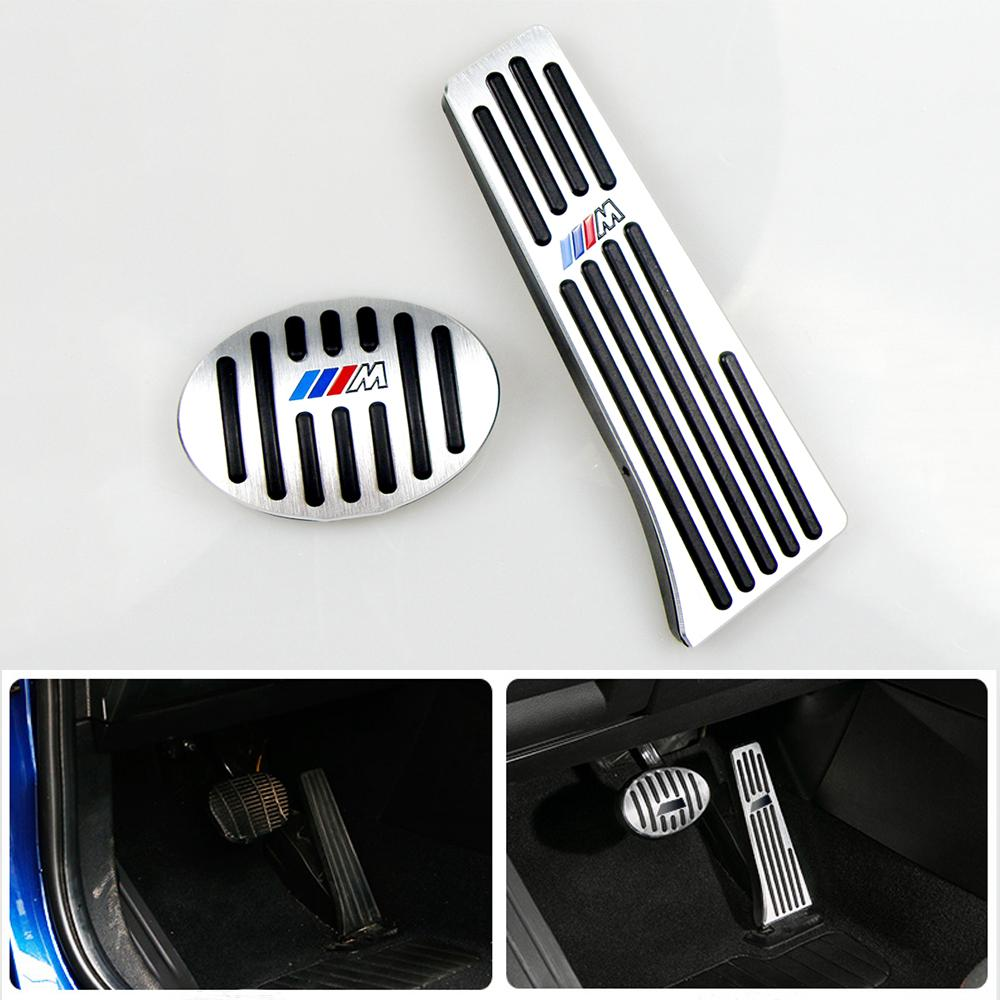 No Drill Gas Brake Pedal For BMW X1 F48 1 2 Series F52 F46 Auto Aluminum gas accelerator pedal and brake pedal with M Logo