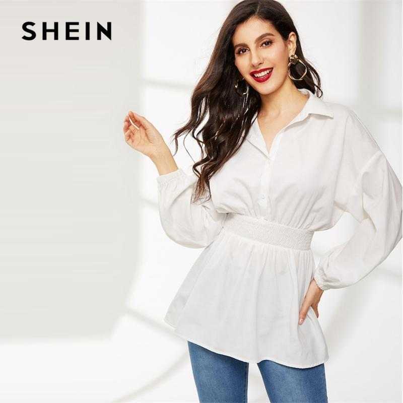 4253876af35333 2019 SHEIN White Lantern Sleeve Shirred Waist Solid Blouse Half Placket  Elegant Bishop Sleeve Collar 2019 Spring OL Women Blouses From Red2015, ...