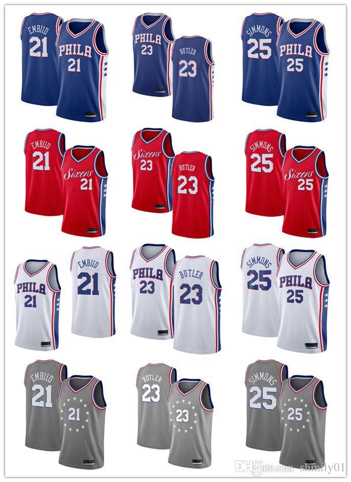 2018 2019 Men S Philadelphia 76er Jersey Swingman Basketball Jersey 21 Joel  Embiids 25 Ben Simmonss 23 Jimmy Butlers White Prom Tuxedos White Tie  Tailcoat ... 09f46d8d1