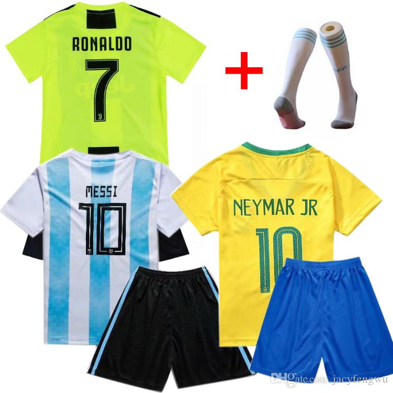 new york aefd2 ef5ed Kids Football Jerseys Kits Messi Ronaldo Mbappe Soccer Socks France Boys  Girls Sports Sets Children TShirts + Shorts 90-160cm XZT035
