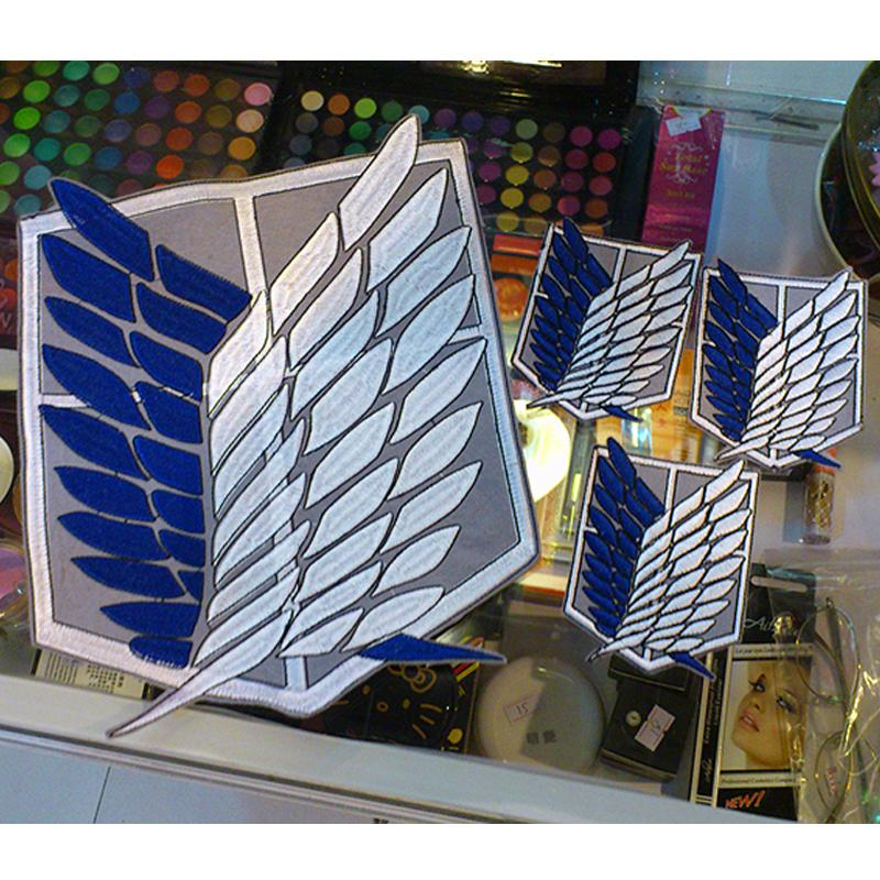 4pcs/set Attack on Titan Survey Corps Wings Cloth Stickers Anime Ver. Recon Corps Emblem Shingeki no kyojin Cosplay Blue BadgesMX190917
