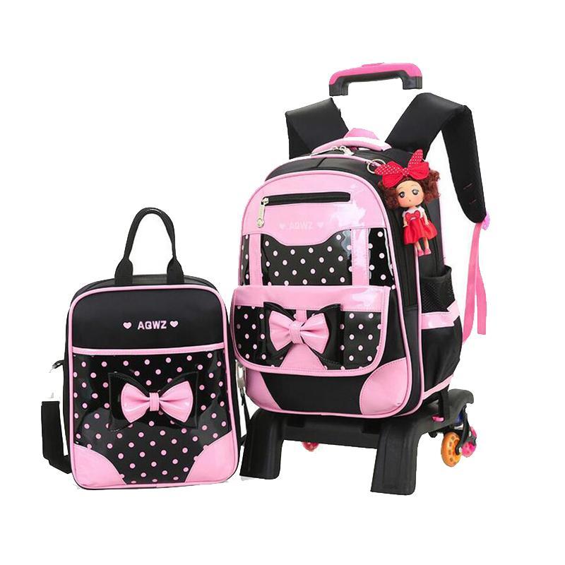 2019 New Brand Girls Three Wheeled Backpack Set Cute Bow Children Trolley  School Bag Set Dot Pattern Waterproof Kid Book Bag Kids Suitcases Overnight  Bags ... 983534c04e2d3