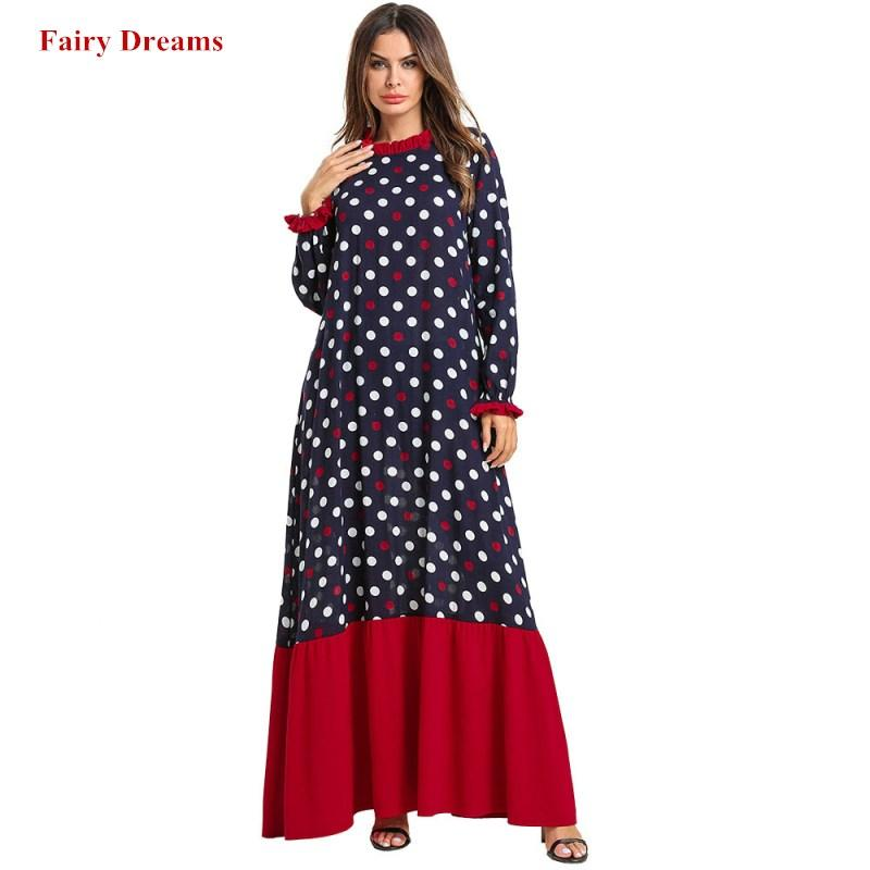 Abayas For Women Bangladesh Islamic Clothing Plus Size 4XL Kaftan Arabic Dubai Abaya Dot Print Blue Long Sleeve Islam Maxi Dress