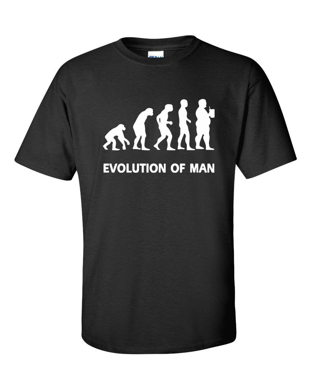 Evolution Of Man Fat Guy Beer Drinking Funny College Men's Tee Shirt Men Women Unisex Fashion tshirt Free Shipping Funny Cool