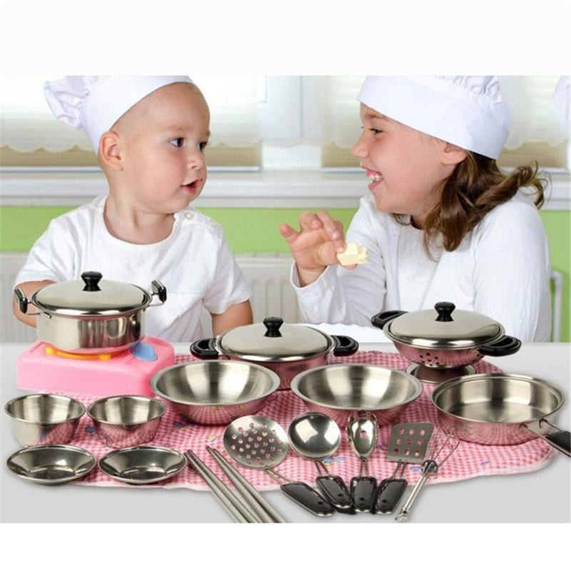 20pcs/1Set Kids Funny Kitchen Toy Stainless Steel Pots Pans Cookware Silver Miniature Toy Pretend Play Gift for Kid