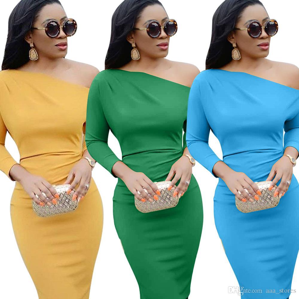 d4b38ccbae880 Green Lady like Woman Solid Color Dresses Asymmetrical Neck Three Quarter  Sleeve Straight Dress Autumn Elegant Lady Knee-Length Outfits