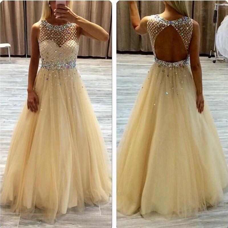 Backless Light Yellow Prom Dresses For Womens 2019 Sparkling Tulle Boat  Neck Floor Length Custom Made Gowns Prom Formal Dresses Scala Prom Dresses  From ... d6964d92a9ec