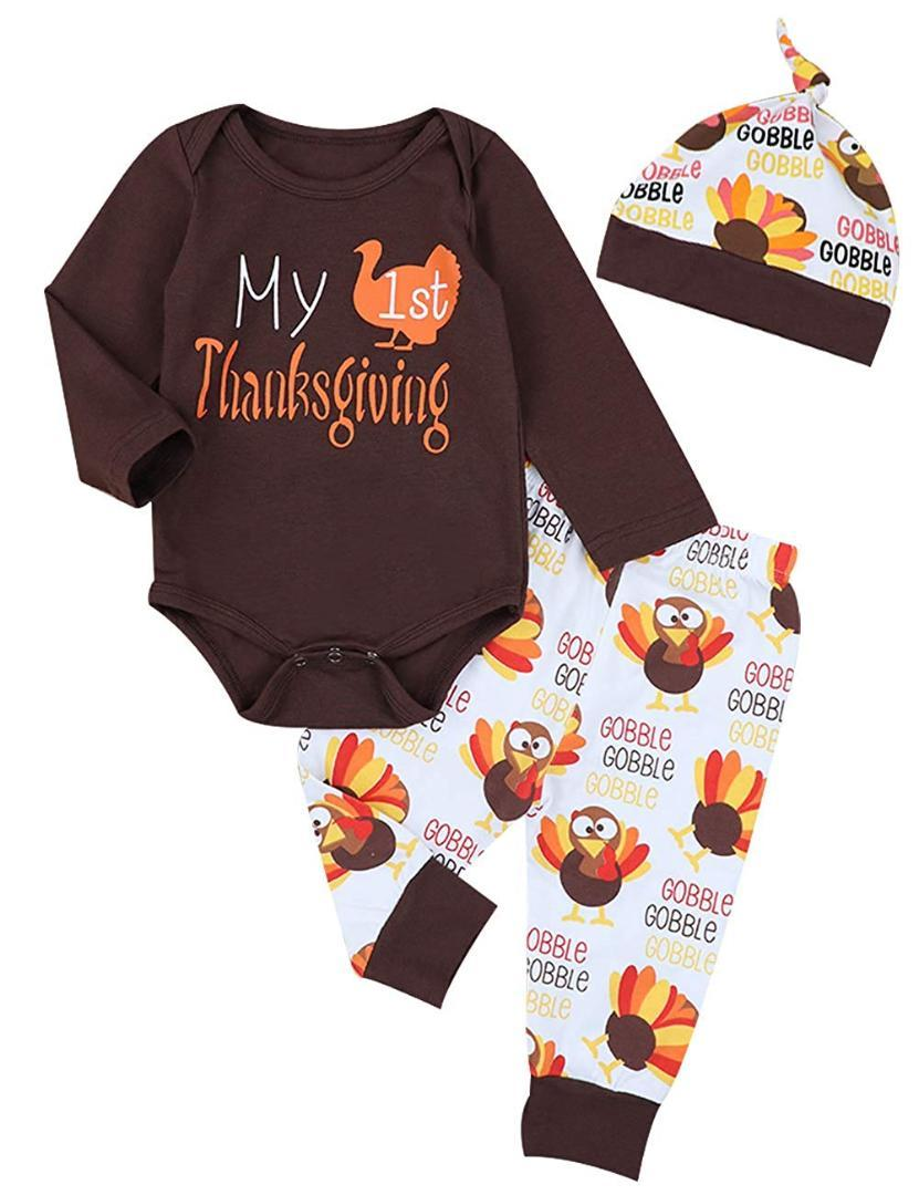 be7495ffbe4 Oklady Thanksgiving Baby Outfits Newborn Boy Girl My First Thanksgiving  Letter Print Romper Turkey Print Pant Hat Clothes Set UK 2019 From Jeanyme