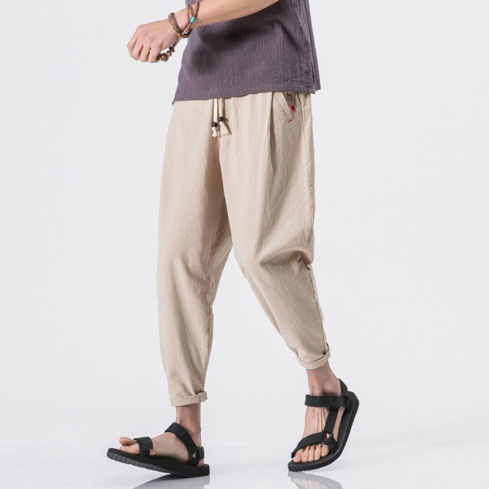 80ed2c8732cc2 Acquista Pantaloni Da Uomo LNCDIS Abbigliamento Hip Hop Stretch Donna  Pantaloni Casual Da Uomo Slim Pantaloni Alla Caviglia In Lino Baggy Harem  A5 A  25.39 ...
